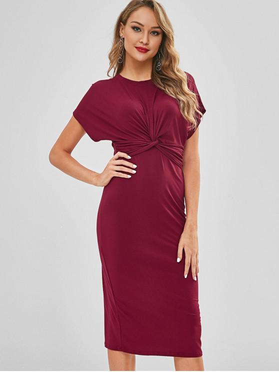lady Casual Twist Midi Dress - RED WINE S