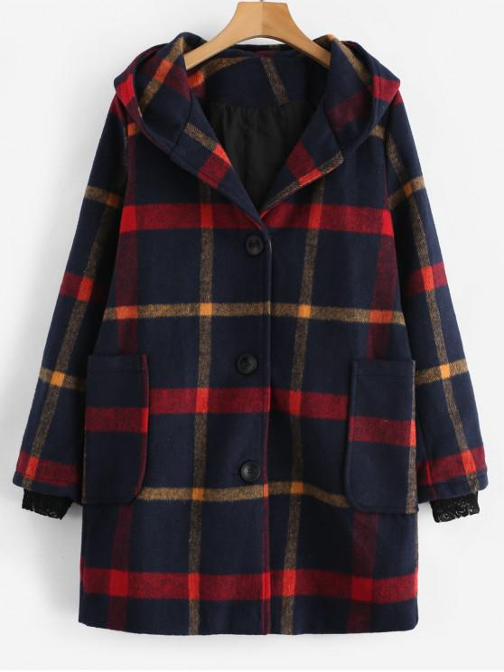 affordable Plaid Single Breasted Hooded Trench Coat - MULTI 2XL