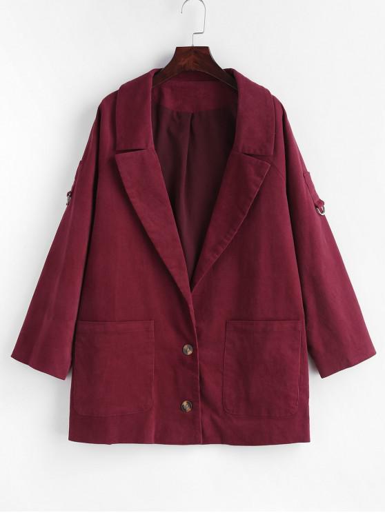 women Rolled Sleeve Corduroy Blazer - FIREBRICK S