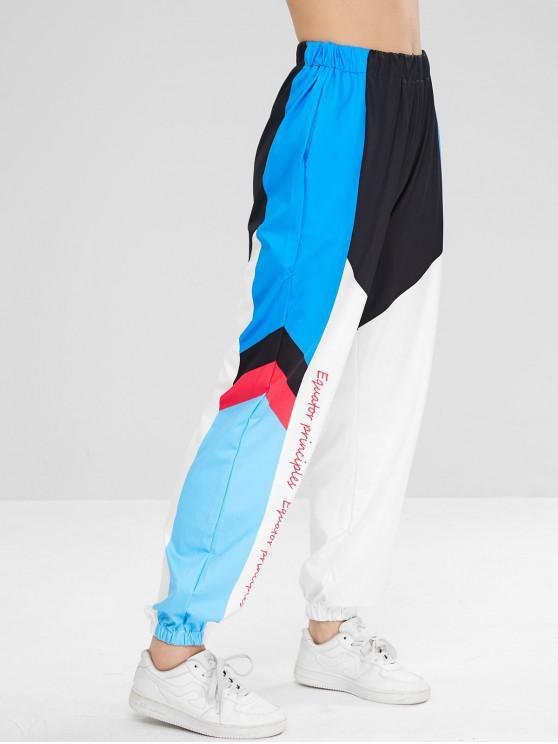 unique Color Block Graphic Jogger Pants - MULTI M