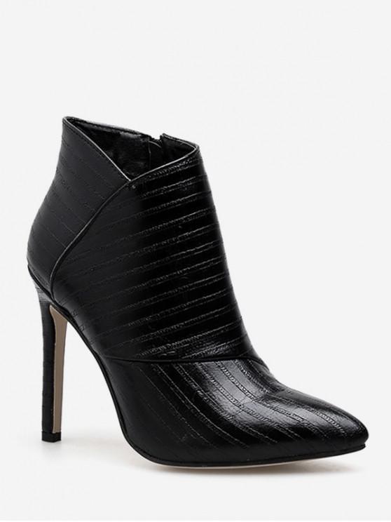 women Striped Print Heeled Pointed Toe Boots - BLACK EU 35