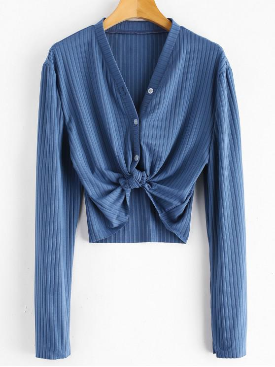women Ribbed Button Up Cropped Top - SILK BLUE S