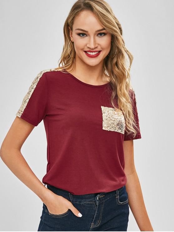 93907372353e1 23% OFF  2019 Sequined Shoulder Patch Pocket Jersey Tee In RED WINE ...