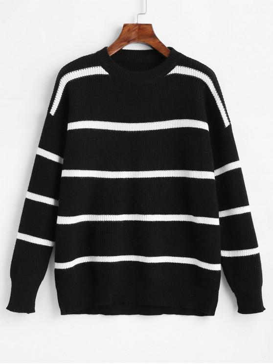unique Drop Shoulder Striped Color Block Sweater - BLACK ONE SIZE