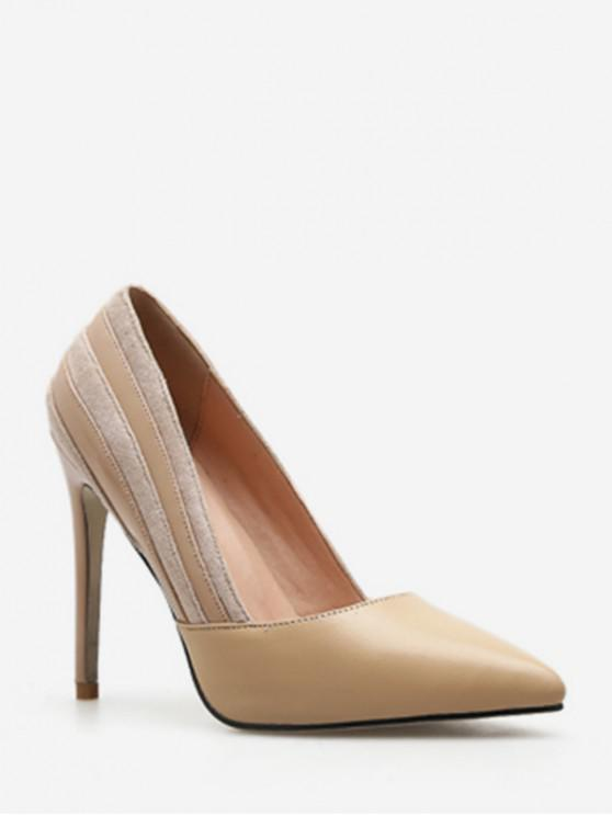 fancy Suede Stripe Pointed Toe Pumps - APRICOT EU 35