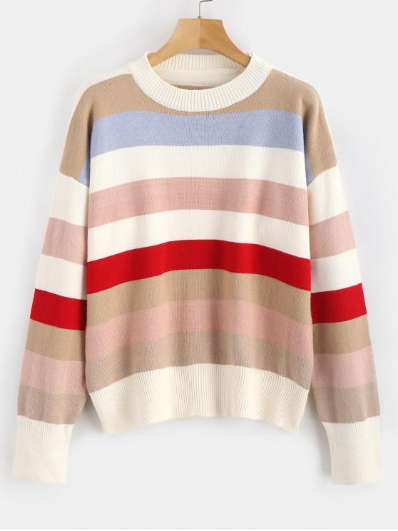 96d1e6908e 25% OFF  2019 Contrast Striped Drop Shoulder Sweater In MULTI