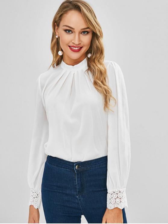 lady Lace Trim Pleated Front Flowy Top - WHITE S