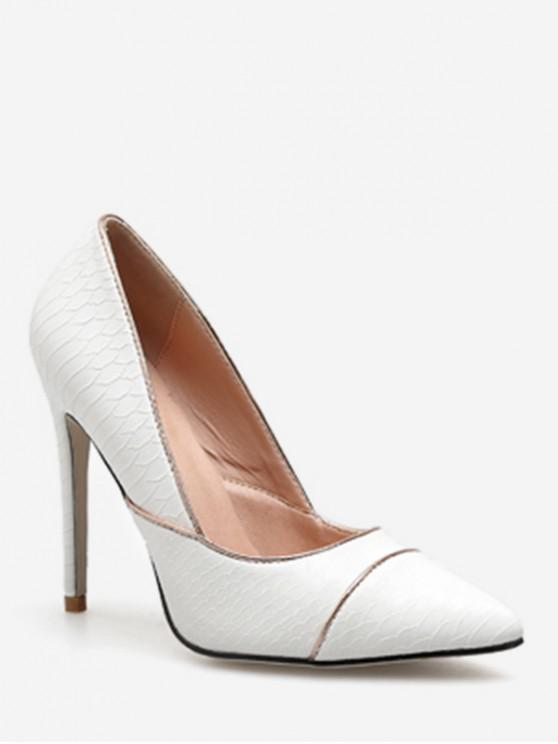 trendy Contrast Stripe Pointed Toe Pumps - WHITE EU 36