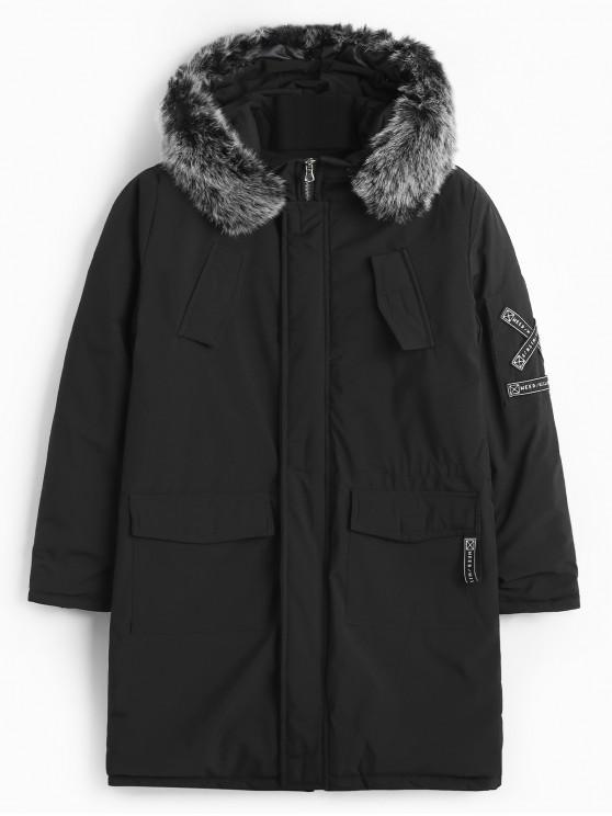 online Fluffy Hooded Belt Embellish Padded Coat - BLACK S