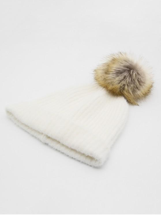 12% OFF  2019 Winter Flanging Pom Pom Beanie In WHITE  23b369bdb721