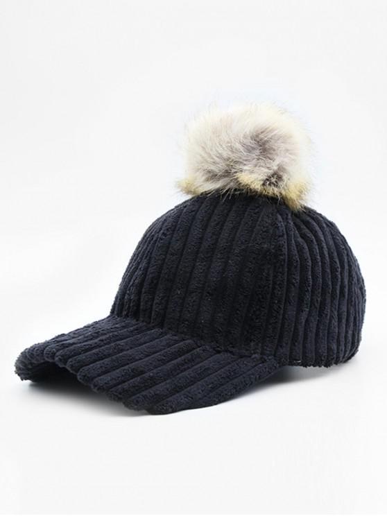 trendy Winter Striped Fuzzy Ball Graphic Hat - BLACK