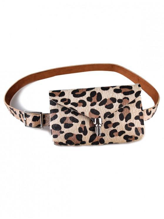 Elegante bolso de cinturón de piel sintética con paquete de trasero de leopardo - Albaricoque