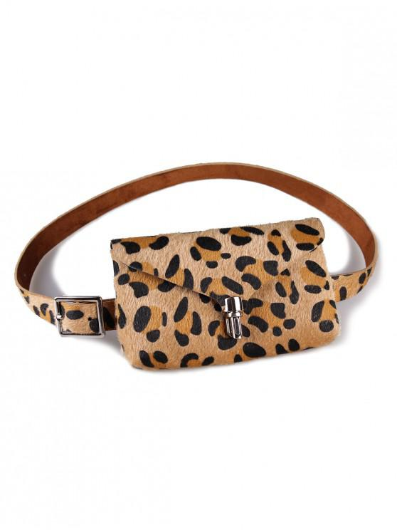 ladies Stylish Leopard Fanny Pack Faux Leather Belt Bag - CAMEL BROWN