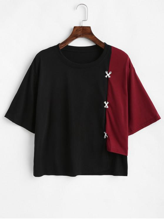 outfits Asymmetric Two Tone Cross Tee - RED WINE M