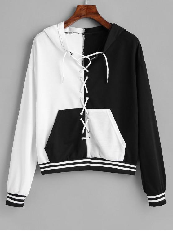 shop Lace-up Two Tone Pocket Hoodie - BLACK XL