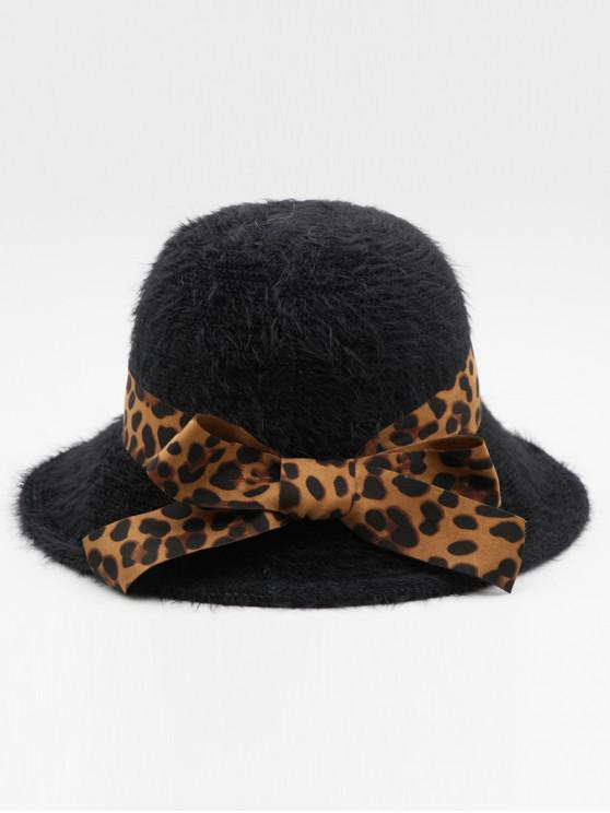 shops British Style Leopard Bowknot Holiday Hat - BLACK