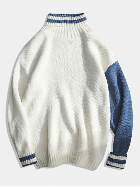 new Color Block Turtleneck Striped Knit Sweater - WHITE M
