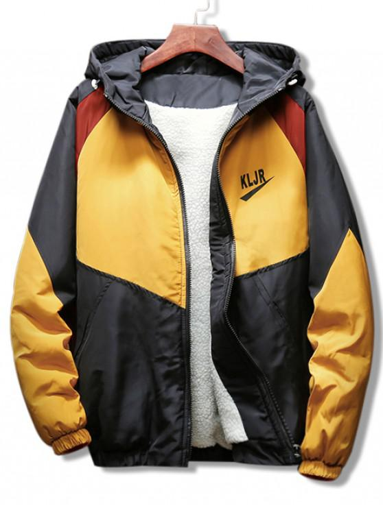 online Panel Raglan Sleeve Hooded Coat - YELLOW 3XL