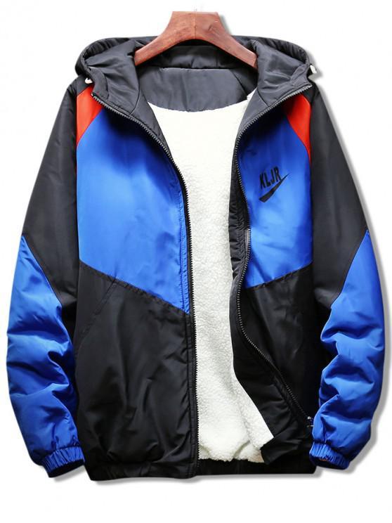 Abrigo con capucha y mangas raglán de panel - Azul M