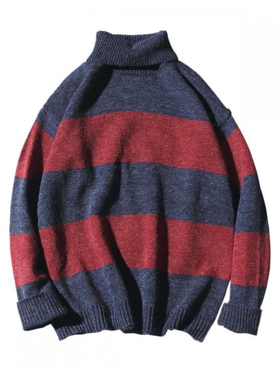 sale Turtleneck Color Block Knit Sweater - BLUE M