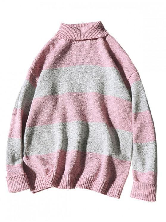 Maglione A Blocchi Di Colore Con Collo Alto - Rosa M
