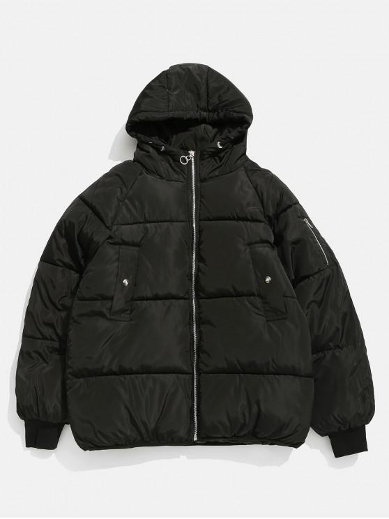 latest Solid Zipper Up Puffer Jacket - BLACK M