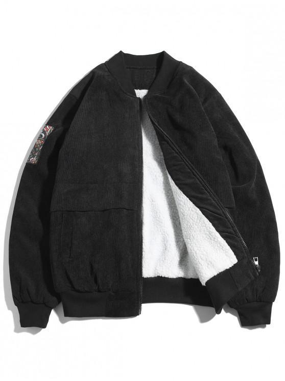 affordable Letter Print Bomber Jacket - BLACK S