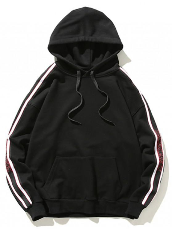 outfits Drawstring Letter Print Panel Hoodie - BLACK M