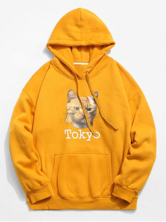 affordable Animal Pattern Kangaroo Pocket Pullover Hoodie - BEE YELLOW XL