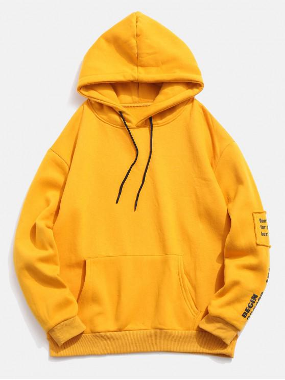 outfit Letter Patched Pullover Drawstring Fleece Hoodie - BRIGHT YELLOW M