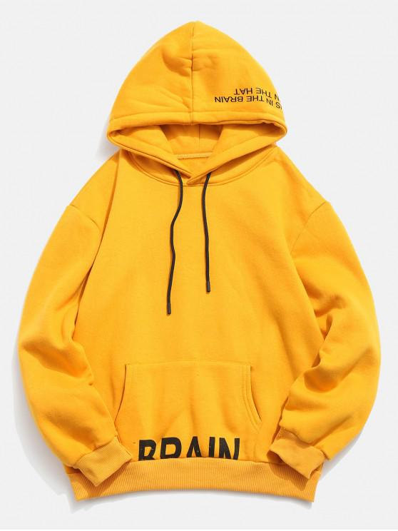 shop Letter Printed Pullover Drawstring Fleece Hoodie - BRIGHT YELLOW 2XL