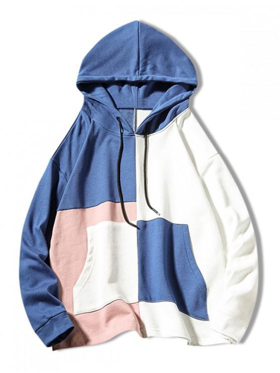 Color Block - Langärmeliger Hoodie - Kornblumenblau 2XL