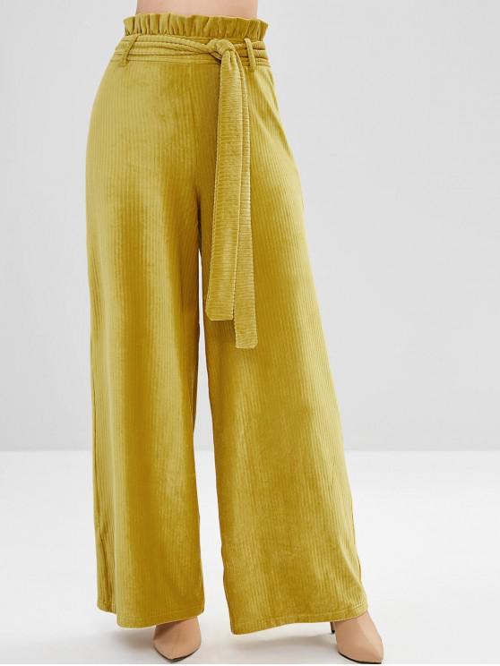 best ZAFUL Ruffles Belted Corduroy Wide Leg Pants - YELLOW M