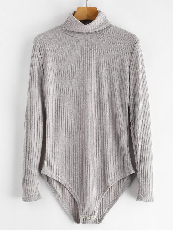 38% OFF  2019 Turtleneck Ribbed Knit Bodysuit In LIGHT GRAY S  734554297