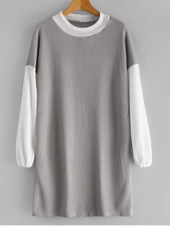 ladies Long Sleeve Two Tone Sweater Dress - GRAY L