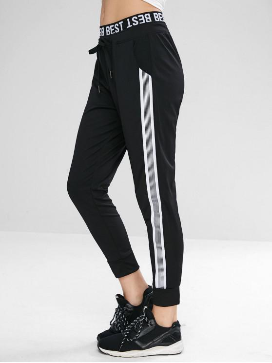 Calças Esportivas Stripes Gráficas - Preto XL