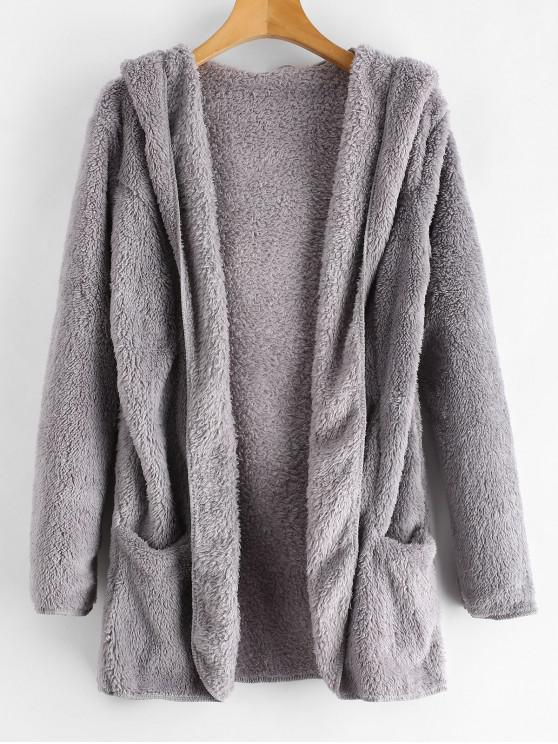 Flauschiger Teddy-Mantel mit Kapuze und offener Vorderseite - Graue Wolke XL