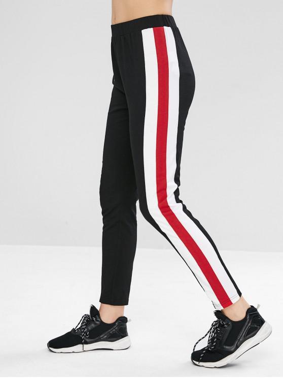 Leggings con rayas laterales de cintura alta ZAFUL - Negro L