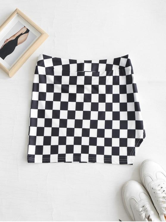chic Slit Checkered Mini Skirt - MULTI S
