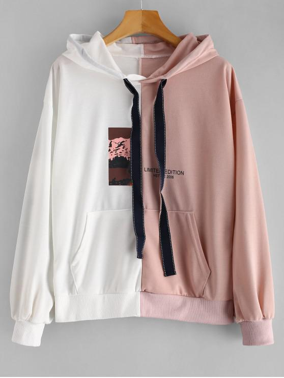 lady Front Pocket Two Tone Graphic Hoodie - MULTI M