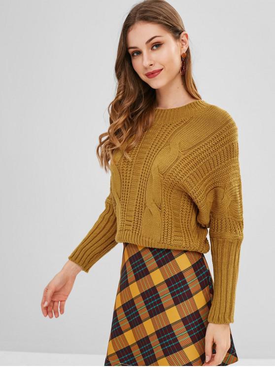 Pull à manches chauve-souris en tricot à lacets - Caramel Taille Unique