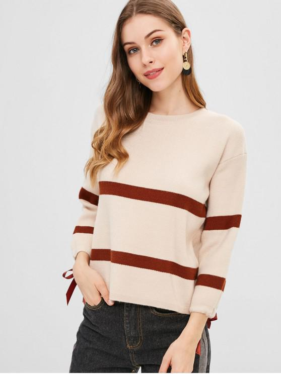 fashion Striped Ribbon Embellished Sweater - BLANCHED ALMOND ONE SIZE