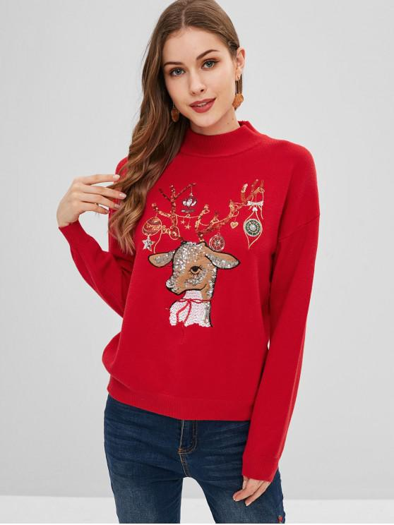 Tropfen Schulter Weihnachten Pailletten Elch Pullover - Rot Eine Größe