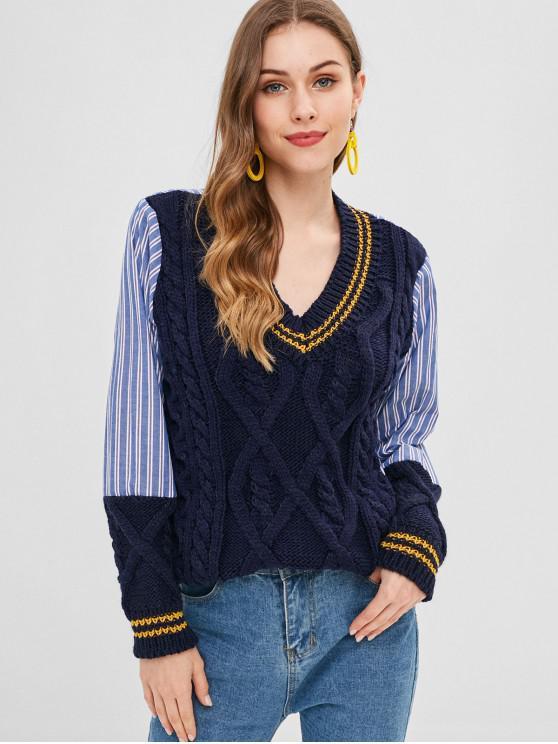 Splicing Stripe Cable Malha Cricket Sweater - Cadetblue Um Tamanho