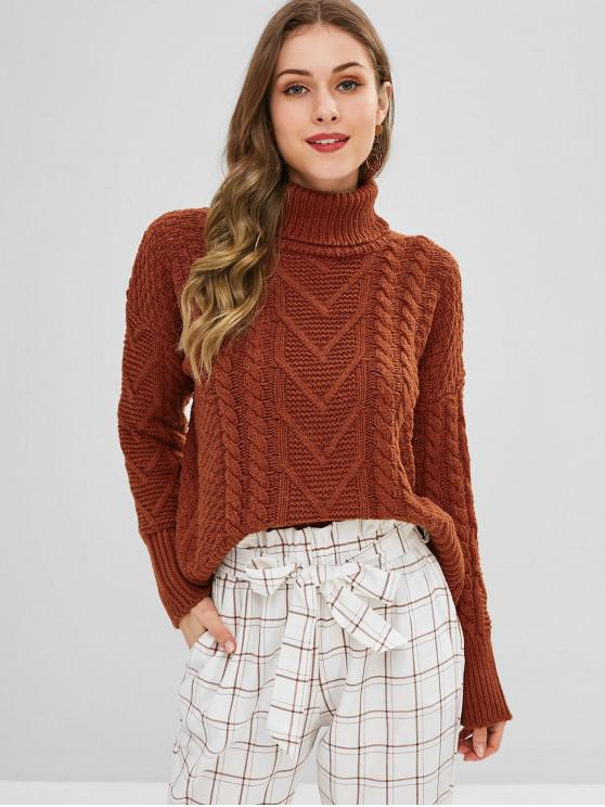 new Turtleneck Cable Knit Scalloped Sweater - LIGHT BROWN ONE SIZE