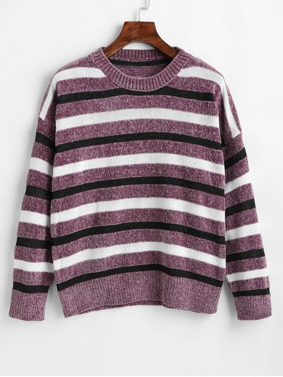 outfit Striped Velvet Sweater - MULTI-A ONE SIZE