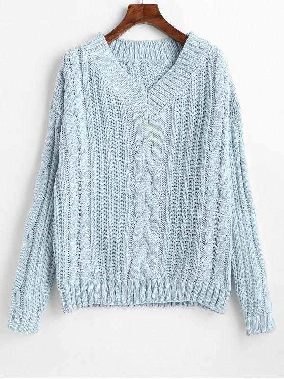 shop Drop Shoulder V Neck Chunky Sweater - DAY SKY BLUE ONE SIZE