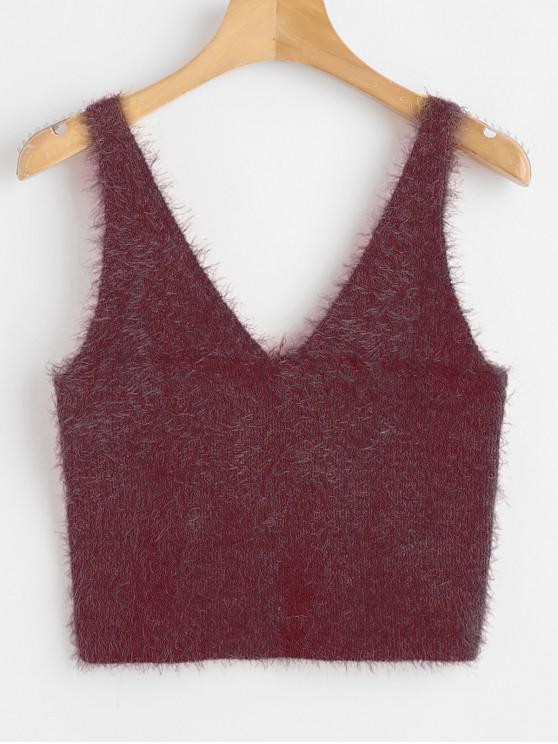 trendy Vest Textured V Neck Sweater - RED WINE M