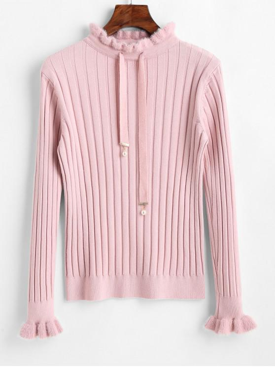 chic Mock Neck Fitted Drawstring Sweater - PINK ONE SIZE