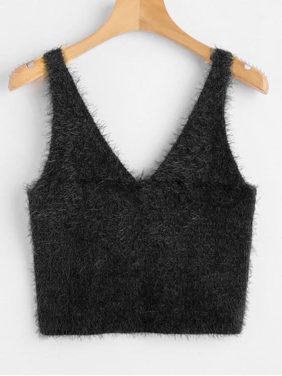 womens Vest Textured V Neck Sweater - BLACK M